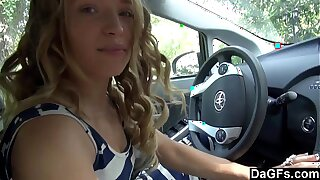 Daunting hot bimbo fucked overhead backseat