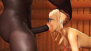 3dxpassion.com. Nerdy tolerant in glasses gets fucked by Stygian basketball player in sauna