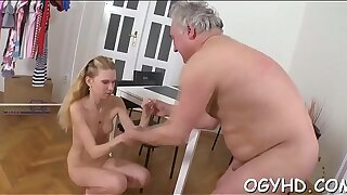 Old nasty guy fucks young hole