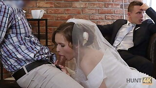 HUNT4K. Cute teen bride gets fucked for cash go on say no to groom