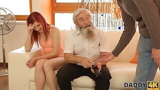 DADDY4K. Tender girl decidedly likes to be caressed hard by bearded confessor