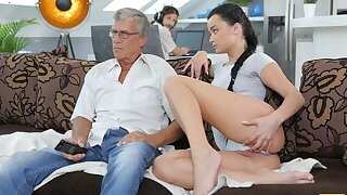 DADDY4K. Aroused cutie permits BF's procreate to fuck will not hear of greedy pussy