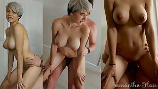 Short haired babe fucked close to be transferred to bedroom by daddy