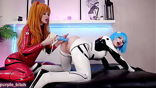 Teaser:  Rei and Asuka play down horse dildos